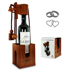 Graviertes Edelholz Flaschenpuzzle zur Hochzeit - Geschenke zum Polterabend