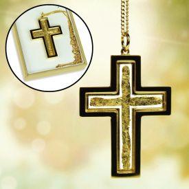 Halskette Kreuz mit 23 Karat Gold