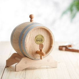 Holzfass mit Gravur Plakette - Jahrgang