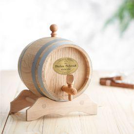 Holzfass mit Gravur Plakette zum Geburtstag