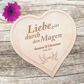 Holzherz zur Hochzeit - mit Tauben und Liebesspruch