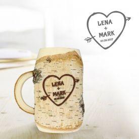 Holzkrug mit Gravur - Herz