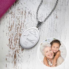 Kettenanhnger oval mit Gravur - Beste Oma