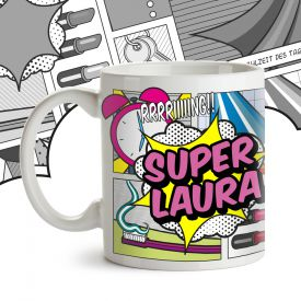 Personalisierte Comic Tasse - Super Frau