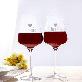 Personalisierte Weingl�ser Herz - 2er Set