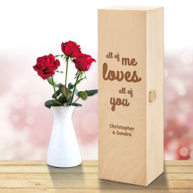 Personalisierte Weinkiste - Liebesbotschaft - Personalisierte Liebesgeschenke