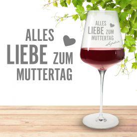 Personalisiertes Weinglas zum Muttertag - Geschenkideen