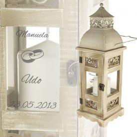 Romantische Hochzeitslaterne - personalisiert - Geschenke zum Hochzeitstag