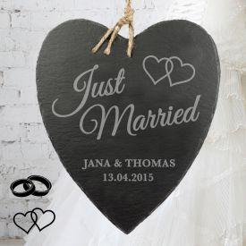 Schieferherz mit Gravur - Just Married - Personalisierte Geschenke