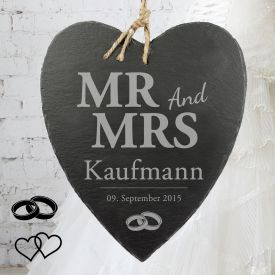 Schieferherz mit Gravur - Mr and Mrs - Immer lange Lieferzeit