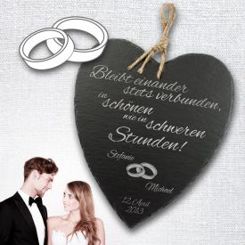 Schieferherz zur Hochzeit - personalisiert - Originelle Hochzeitsgeschenke