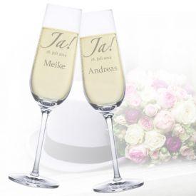 Sektgläser zur Hochzeit - Jawort Gravur - Glasgravur