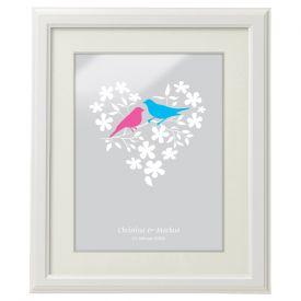 Vogelp�rchen im Blumenherz - personalisiertes Bild Wei�
