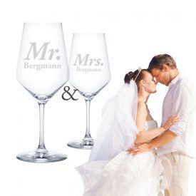 Weißweingläser - Mr und Mrs - Geschenke zum Hochzeitstag