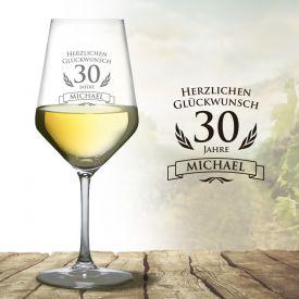 Weißweinglas zum 30. Geburtstag - Geschenkideen