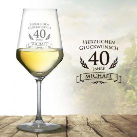 Wei�weinglas zum 40. Geburtstag