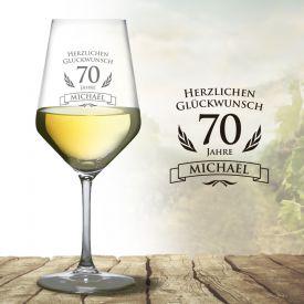 Wei�weinglas zum 70. Geburtstag