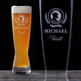 Weizenglas mit Gravur - Bier Kenner - Kundengeschenke