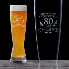 Weizenglas zum 80. Geburtstag - Glasgravur