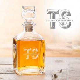 Whisky Karaffe mit Gravur - mit XL Initialen