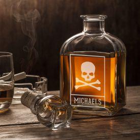 Whisky Karaffe - mit Totenkopf Gravur