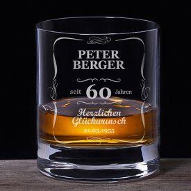 Whiskyglas 60. Geburtstag - klassisch