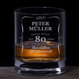 Whiskyglas 80. Geburtstag - klassisch