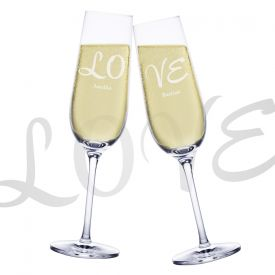 Set de 2 fltes  champagne LOVE
