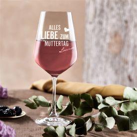 Personalisiertes Weinglas zum Muttertag
