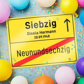 Personalisiertes Ortsschilderbild - 70. Geburtstag