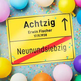 Personalisiertes Ortsschild - 80. Geburtstag