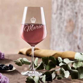 Weinglas mit Gravur - Knigin Krone