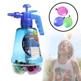Wasserbombenfller - Pumpe mit 100 Wasserballons - blau