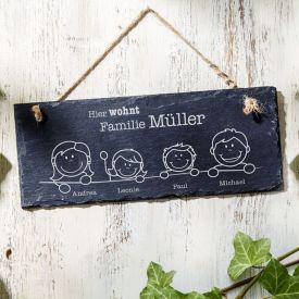 Plaque de porte en ardoise - Gravure famille