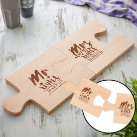 Set de planches puzzle personnalises - Mr and Mrs Right