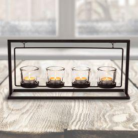 Metall-Teelichthalter mit 4 Teelichtglsern