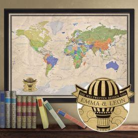 Reise-Weltkarte Deluxe mit Stecknadeln - Heiluftballon