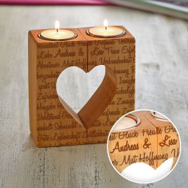 Kerzenhalter Set Herz - Liebesworte mit Namensgravur