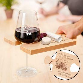 Weinhppchen - Glas und Brettchen personalisiert
