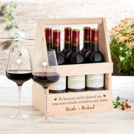 Personalisierter Flaschentrger mit Weinglsern - Liebesspruch