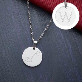 Pendentif rond argent - Signe astrologique avec initiale