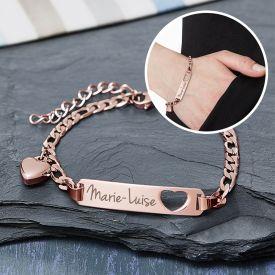 Bracelet avec cur poinonn or rose - Gravure du nom