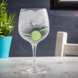 Verre  gin avec gravure - Couronne de reine