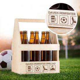 Flaschentrger mit Gravur - Perfekter Spieltag