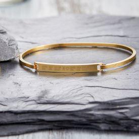 Armreif Gold mit Gravur - Geokoordinaten mit Herz