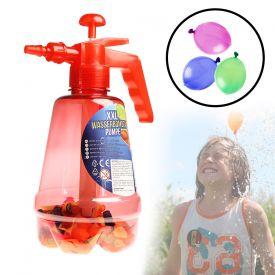 Wasserbombenfller - Pumpe mit 100 Wasserballons - rot