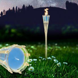 Gartenfackel mit Duftkerze im Glas - blau