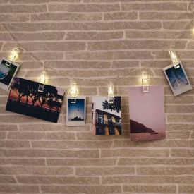 LED Lichterkette mit Wscheklammern fr Fotos
