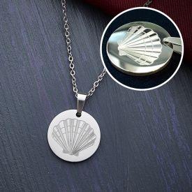 Runder Kettenanhnger Silber - Muschel mit Initiale