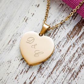 Herzanhnger Gold graviert mit Kette - Initialen